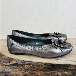 Born Pewter Metallic Leather Flower Ballet Flats